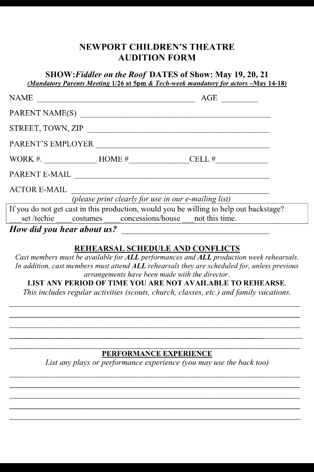 Newport Childrens Theatre Audition Form – Audition Form